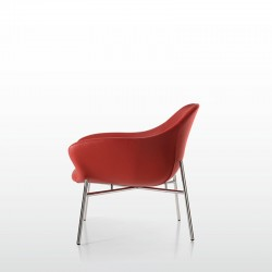 Lounge armchair with chromed metal frame Manta