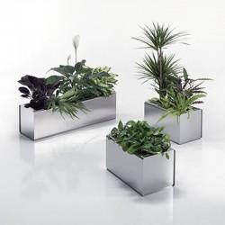 Stainless steel rectangular planter - Prisma