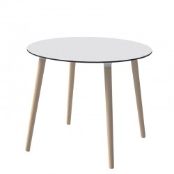 Stefano, round table with wooden legs