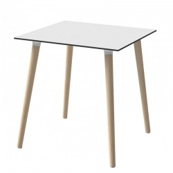 Stefano, square table with wooden legs