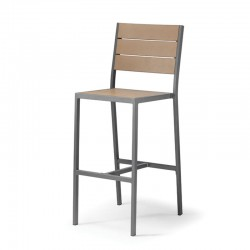 Aluminium and wood barstool