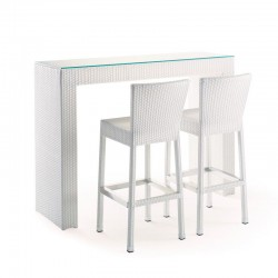 Table and barstools set in polyrattan - Adrian