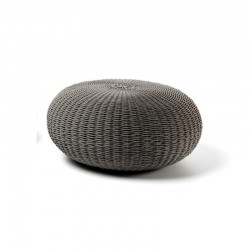 Outdoor pouf in hand-woven...