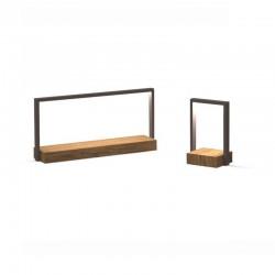 Lampada da tavolo in acciaio e legno iroko - Casilda