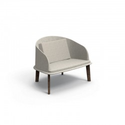 Outdoor lounge armchair in wood and fabric - Cleo Teak