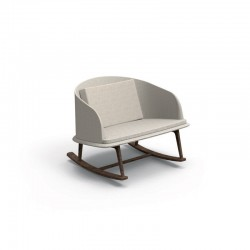 Outdoor rocking chair in wood and fabric - Cleo Teak
