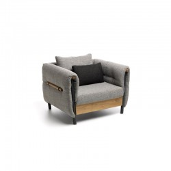 Outdoor fabric armchair with teak details - Domino