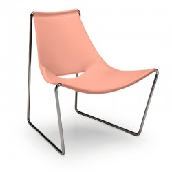 Sedia lounge rivestita in cuoio - Apelle AT
