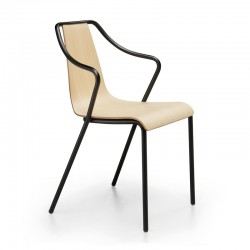 Stackable wood chair with armrests - Ola