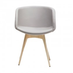 Padded armchair and wood base - Sonny