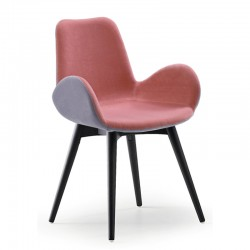 Padded chair with armrests and wood legs - Dalia PB-LG