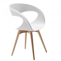 Sedia in baydur / imbottita con gambe in legno - Raff
