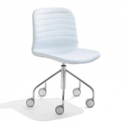 Swivel upholstered chair on wheels - Liù