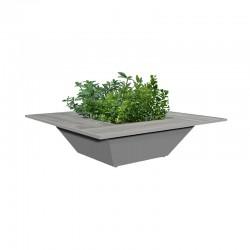 Steel planter with stoneware seat - Nest
