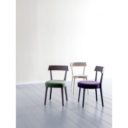 Padded wood chair in fabric or synthetic leather - Ariston
