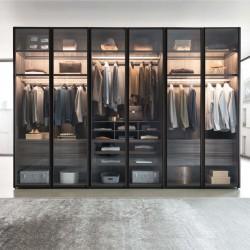 Hinged wardrobe Sangiacomo with smoked glass doors - Scrigno