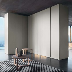 Hinged wardrobe with full-height flush handle - Sangiacomo -