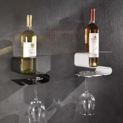 Mensola portabottiglie e portabicchieri da vino