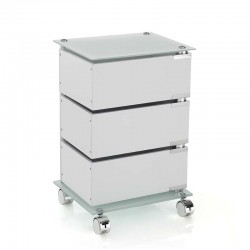 Chest of drawers with wheels and glass top