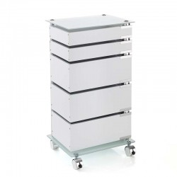 Chest of drawers with wheels in MDF and glass