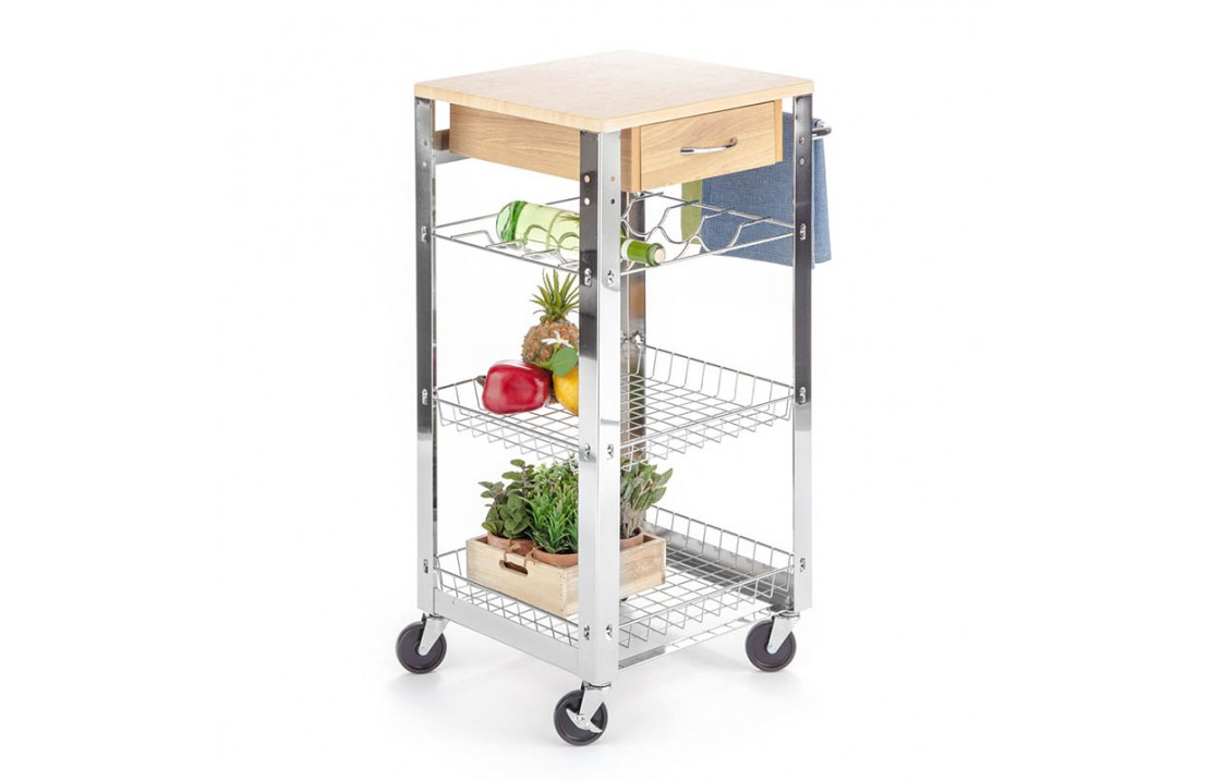 Serving cart in metal with wood top