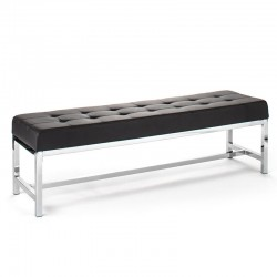 Metal bench upholstered in synthetic leather