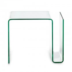 Side glass table with magazine rack