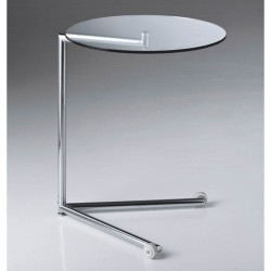 Glass service low table with wheels