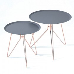Set 2 coffee tables in copper with anthracite top