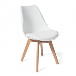 Chair in eco-leather and solid wood