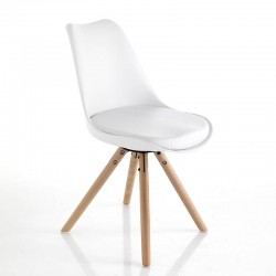 Chair in synthetic leather and solid wood