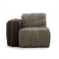 Padded fabric armchair -...