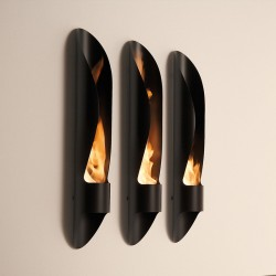 Wall bio-fireplace in steel...