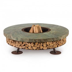 Ercole burning fire pit in...