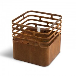 Cube barbecue/brazier/stool in steel