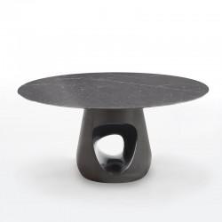 Tavolo tondo con top in marmo - Barbara