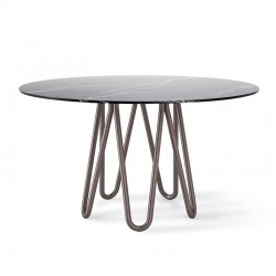 Round table in metal and marble - Meduse