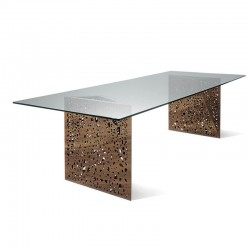 Meeting table in glass and wood Riddled