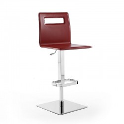 Stool adjustable height in leather and steel - Duck