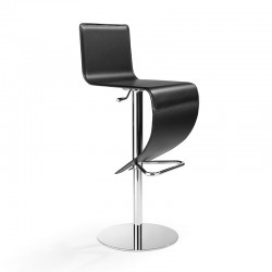 Stella stool in leather with round base
