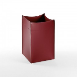 Soul square wastepaper basket in leather