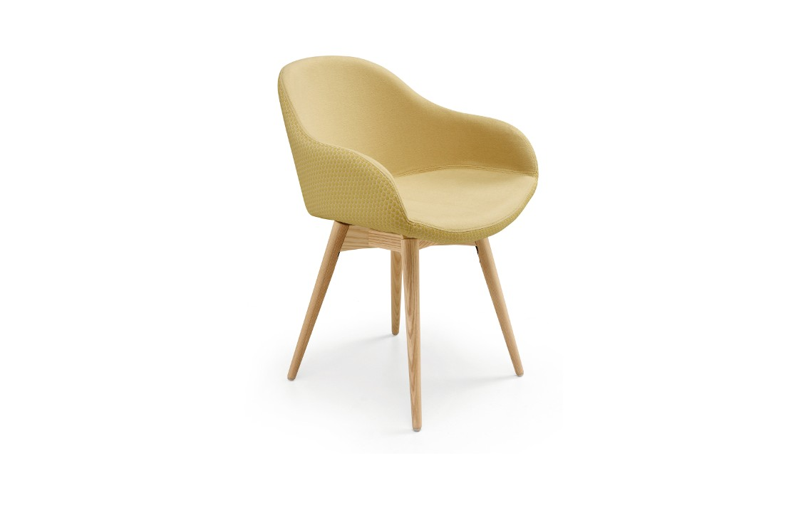 Upholstered chair with wooden legs - Sonny