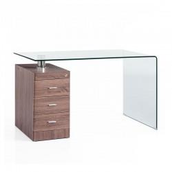 Scrivania vetro c/cassettiera - Wood