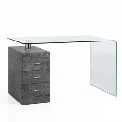 Scrivania vetro c/cassettiera - Cemento