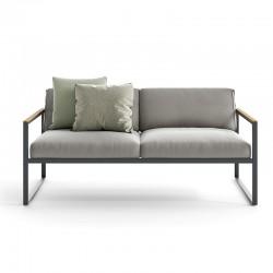 Outdoor sofa in aluminium and teak - Qubik