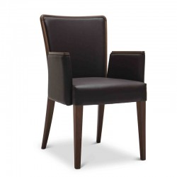 Nob chair with armrests in fabric or synthetic leather