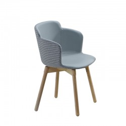 copy of Upholstered chair with armrests and wooden legs - Sonny