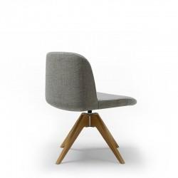 Sedia girevole con basamento in legno - Deep