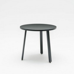 Round meeting table with metal/wood legs - Ogy A