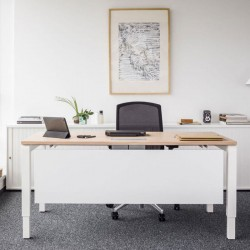 Single desk with front panel - Yan C